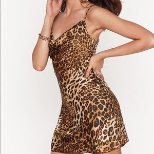 NASTY GAL CHEETAH PRINT SLIP DRESS NWT Size 2